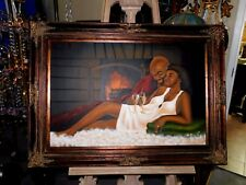 Rare Estate Oil on Canvas Mystery Painting of Lovers by Fireplace Framed/Signed