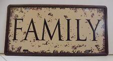 "Plaque Métal Vintage ""FAMILY"" 15 X 30 cm Neuf Emballé"