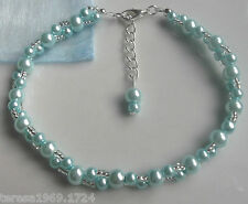 Stretch blue glass pearl beaded anklet ankle bracelet bridal prom something blue