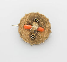 Antique Georgian 1830s Natural CORAL Enamel 10k Gold BROOCH Pin RARE