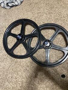 """skyway  20"""" Tuff II Wheelset Black 5 Spoke Mags Old school bmx Wheels 2"""