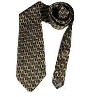 "Valentino Cravatte Brown Geometric Silk Designer Mens Neck Tie Made in Italy 57"""
