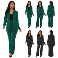 2 Piece Set Women Ladies Business Office Formal Work Wear Suit Jacket + Trouser