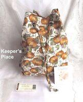 Longaberger AUTUMN DRAWSTRING TOTE Bag Basket Liner Pumpkin Fall New