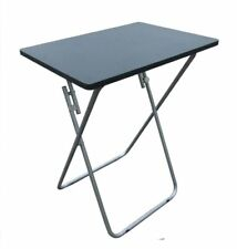 Folding Occasional Black TV Table Tea Coffee Bed Side With Metal Leg Home Small.