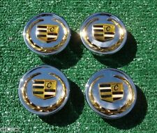Set 4 NEW Chrome Gold Cadillac CENTER CAPS fit CTS STS SLS OEM Factory Wheels