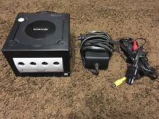 NINTENDO GAMECUBE BLACK W/ ALL CABLES **CLEANED, TESTED, WORKING**