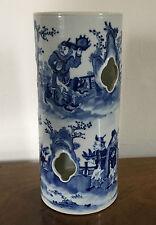 Antique 19th c. Chinese Porcelain Hat Stand Vase Blue & White Figures Landscape