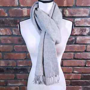 """Polo Ralph Lauren Gray 100% Cashmere Scarf Fringe Trim Made in Italy 78"""" x 11.5"""""""