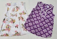 Girls Carters Shirt Size 6 Summer Sleeveless Purple Floral Quatrefoil