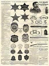 MAGAZINE PAGE POLICE EQUIPMENT SHERIFF BADGE USA ART PRINT POSTER BB8092