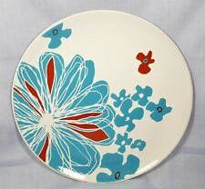 "Ikea ~ Bullra ~ Dinner Plate 10-5/8"" White Turquoise Aqua Blue Red Flower Floral"