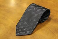 KENZO 100% Silk Black Tie with Waves Brand New Free Shipping Made in Italy