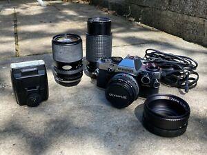 Olympus OM10 35mm Film Camera Fully Working. Lenses, Flash, Case & Accessories!