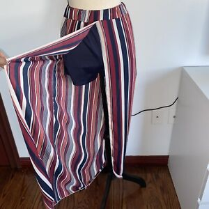 Rainbow striped shorts long open skirt size small