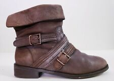 Joie Women's Rolling Stone Brown Leather Belted Ankle Bike Boots! Size 8.5