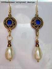 Art Nouveau Art Deco earrings Tudor Renaissance vintage style Elizabethan pearl