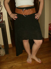 HOT NWT sexy clubbing high low black crinkly skirt with belt size small LOOK