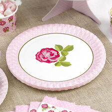 8 VINTAGE ROSE PAPER PLATES Wedding Engagement Anniversary Party Pink White Tea