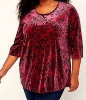 Catherine's 4X 30/32 Velvet Swirl Top Red Black Women's Soft Velvet $60 Bust 64