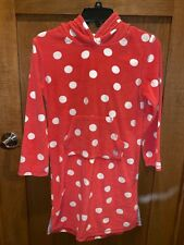 Mini Boden Toweling Hooded Swimsuit Cover Up Terry Cloth Polka Dot Girl's 9-10Yr