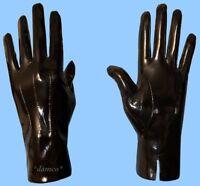 NEW MENS size 9 BLACK PATENT GENUINE LAMBSKIN LEATHER DRESS GLOVES - SILK LINING