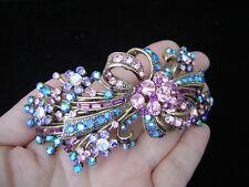 X-LARGE DEW HAIR BARRETTE CLIP CRYSTAL GOLD TONE
