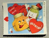 Adorable Anthropomorphic Mustard Relish Hot Dog Vintage Valentine Card