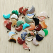 Wholesale assorted Natural Stone charm Moon Pendants for DIY jewelry 100pcs/lot