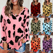 Women V Neck Long Sleeve T Shirt Leopard Print Blouse Casual Loose Fit Tunic Top