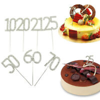 Number Cake Topper Silver Diamond-studded Cake Topper for Birthday Wedding Party