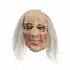Mens Adult Horror Creepy Old Man Halloween Mask & Hair Fancy Dress Accessory