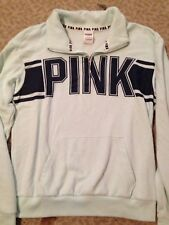 Victoria Secret Pink Mint Quarter Zip Pullover Sweatshirt Small Perfect Cond