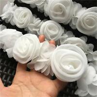 3D Rose Flower Chiffon Lace Trim Ribbon Sewing Fabric Clothes Hem 2.36'' Width