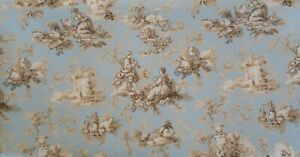 """2 2/3 Yards x 45"""" Wide Waverly Inspirations Canvas Twill Weight Toile Cream Blue"""