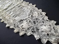 Rare Antique Spanish Mexican Lace Doily Runner beautiful Workmanship Beige tone