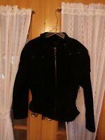 VTG WILSONS BLACK SUEDE Leather FRINGE BIKER JACKET Med Womens