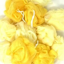 24 Yellow Bath or Shower Sponge Loofahs Pouf Small Mesh Wholesale Bulk Lot