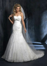 MAGGIE SOTTERO COUTURE $1999 SZ 10 NEW IVORY LACE WEDDING DRESS FIT & FLARE GOWN