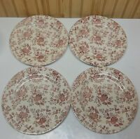 (4) EIT English Ironstone Tableware Pink, Red Florals Dinner Plates England EXC