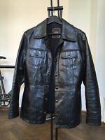 VIntage Western G STAR RAW Black Mens Italian Leather Jacket Top Coat Size S-M
