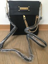 48a316a2ab3 RIVER ISLAND BLACK ZIP FRONT CHAIN CROSS BODY BAG new with tags