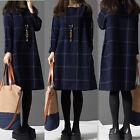 New Vintage Women Plaid Check Long Sleeve Mini Dress Jumper Plus AU Size 8-24