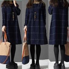 HOT Vintage Women Plaid Check Long Sleeve Mini Dress Jumper Plus AU Size 8-24