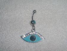 Blue Eye Clear Crystal Navel Belly Ring Body Jewelry Piercing Pretty Mystery