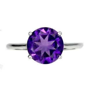 Unheated Round Amethyst 9mm 14K White Gold Plate 925 Sterling Silver Ring Size 8
