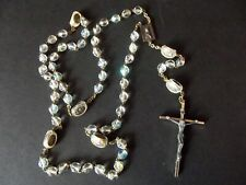 Vtg Rosary Necklace Cross religious Iridescent facet crystal beads ROMA ITALY