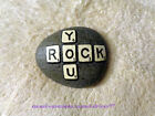 Hand Painted Beach Rock Stone Art - YOU ROCK Letters Scrabble WORDS Saying