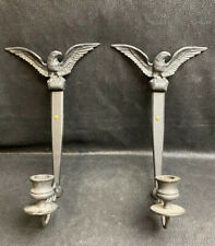 Vintage EAGLE CAST IRON WALL SCONCES CANDLE HOLDERS (BY WILTON)
