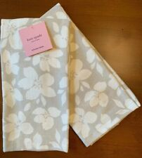 Kate Spade Set Of 2 Gray Cream Floral Cotton Kitchen Towels NEW